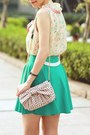 Turquoise-blue-chicwish-skirt-light-pink-red-valentino-bag