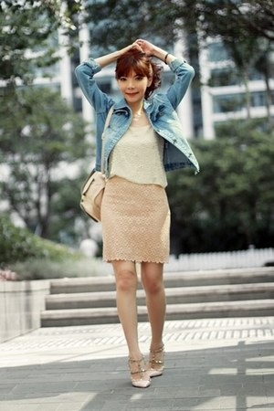 light blue denim Sheinside jacket - peach backpack Topshop bag