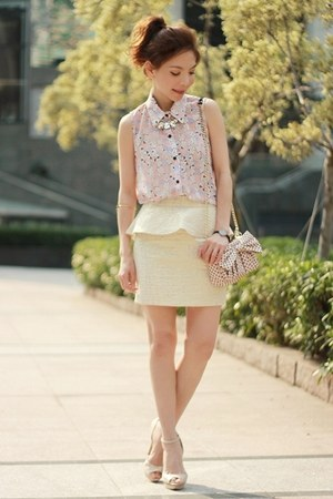light pink SwayChic blouse - light pink polka dots bow RED valentino bag