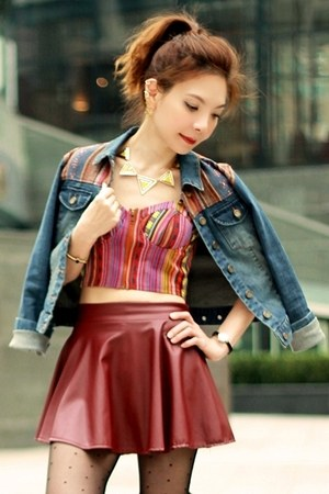 maroon faux leather skirt - blue Forever 21 jacket - ruby red Forever 21 top