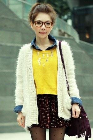 off white fuzzy knit cardigan - yellow knit H&amp;M sweater - blue denim H&amp;M shirt