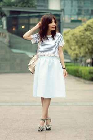 peach backpack Topshop bag - light blue midi skirt Topshop skirt