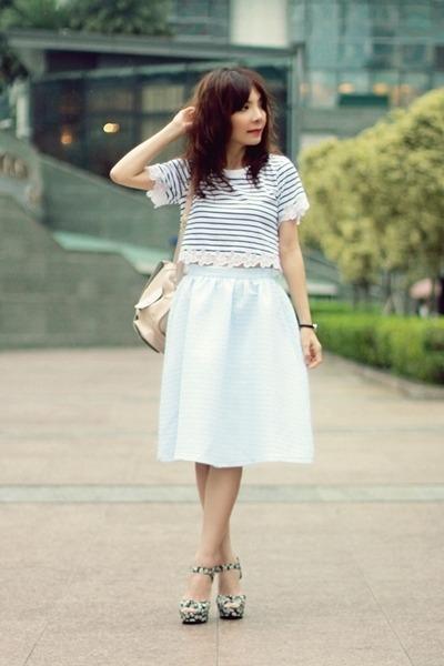 peach backpack Topshop bag - light blue midi skirt Topshop skirt
