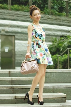 light pink H&amp;M necklace - light blue dress - light pink Miu Miu bag