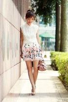 white Sheinside skirt - light pink bow satchel Miu Miu bag