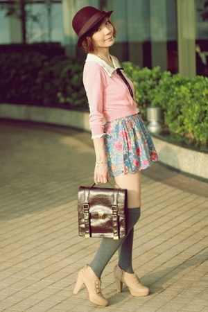 light pink cardigan - nude bows Liz Lisa boots - dark brown satchel bag
