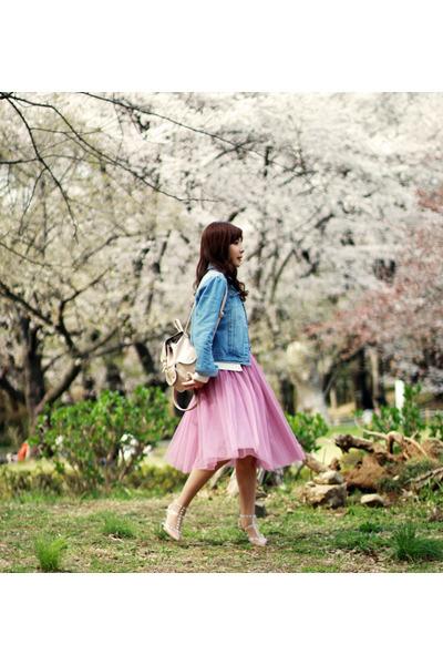 bubble gum midi tulle DIY skirt - light blue denim Sheinside jacket