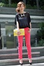 Light-yellow-two-tone-clutch-bag-silver-accessories-hot-pink-pants