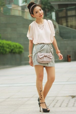 silver metallic H&M skirt - light pink RED valentino bag