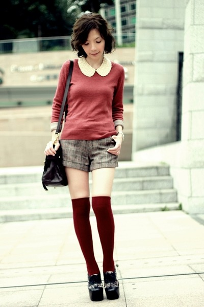 maroon H&M sweater - black velvet bronte Jeffrey Campbell shoes
