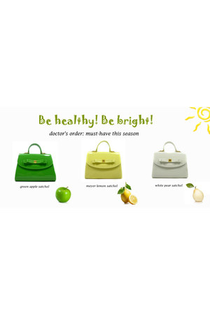 light yellow bag - chartreuse bag - white bag