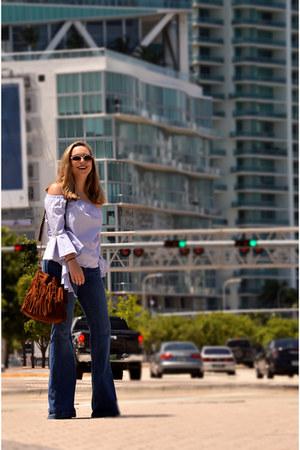 denim Forever 21 jeans - bucket bag Express bag - striped shein blouse