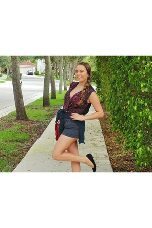 ruby red Forever 21 bag - charcoal gray Forever 21 shorts - black H&M flats