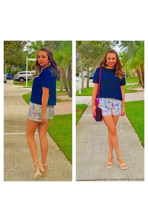 beige shoes - maroon Rebecca Minkoff purse - shorts - navy Forever 21 top