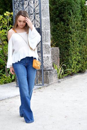 blue denim Forever 21 jeans - mustard crossbody Forever 21 bag