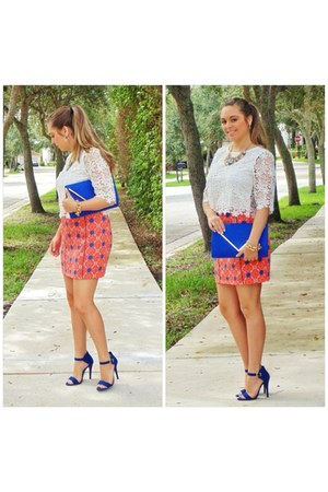 salmon Forever 21 skirt - blue Aldo purse - blue Forever 21 sandals