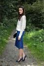 White-blouse-navy-skirt