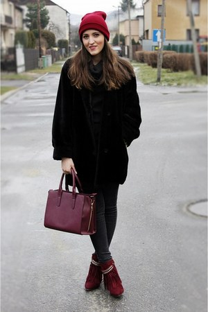 crimson deezee boots - black second hand coat - crimson house bag