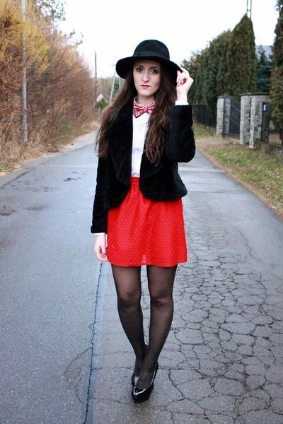 red skirt - black hat - ivory reserved blouse