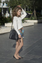 prints Zara skirt - Prada purse - round Zara glasses