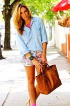 blue jean cotton on shirt - light orange Gucci bag