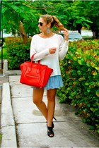 red Celine bag - blue uteque shoes