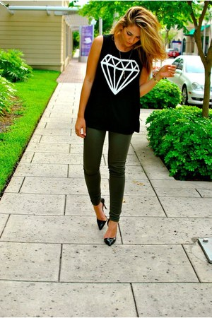 black Forever 21 shirt - green Zara jeans - black Zara heels