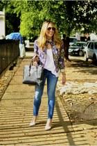 white white cotton on t-shirt - navy Zara jeans