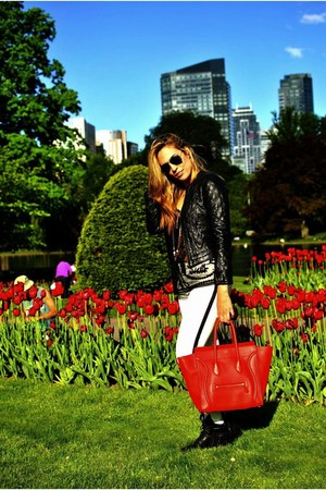white Zara jeans - black Zara jacket - black Forever 21 shirt - red Celine bag