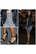 black dress - black jacket - black heels