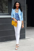 light blue collarless Sheinside blazer - white asos jeans - mustard bag