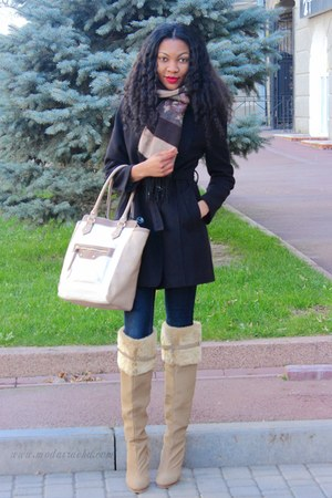 camel knee high AmiClubWear boots - black coat - camel new look bag
