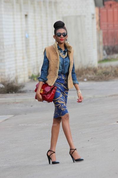 denim asos shirt - Calliope sunglasses - asos skirt - Boohoo necklace