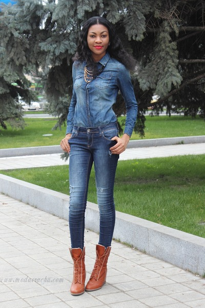 denim asos shirt - wedge boots - distressed jeans - Boohoo necklace