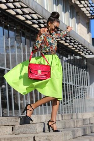 chartreuse midi Sheinside skirt - crimson next bag - black asos heels