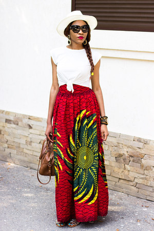 ankara skirt - zeroUV sunglasses - crop romwe top