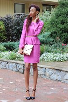 pink peplum asos dress - metallic new look bag - neon chain asos belt