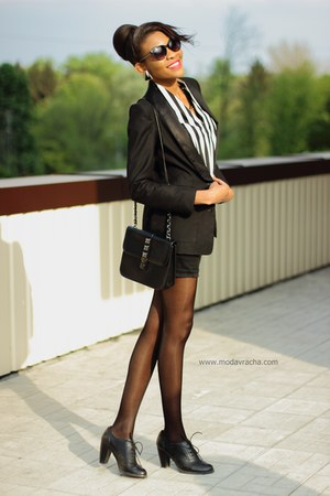 black H&M blazer - striped Sheinside shirt