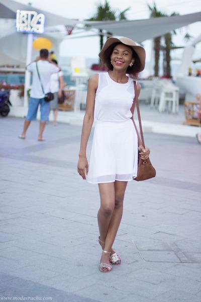felt floppy hat - Stradivarius bag - new look sandals - reserved skirt