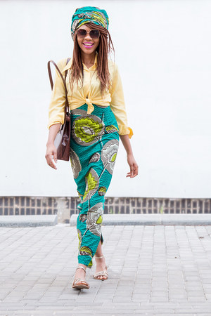 forest green ankara skirt - light yellow shirt