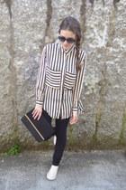 black OASAP blouse - beige Converse sneakers