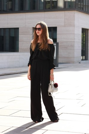 black edited pants - heather gray Zara bag - dark brown Fendi sunglasses