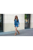blue denim shirt Zara blouse - dark brown meteor ray-ban sunglasses