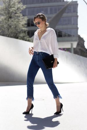 navy fringed Mango jeans - white white shirt H&M shirt