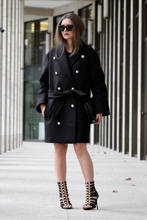 black balmain coat Balmain x H&M coat