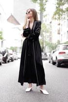 white mules Zara flats - black pyjama-style Zara coat