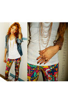 Pastry leggings - blue vintage jacket - gold Forever 21 necklace
