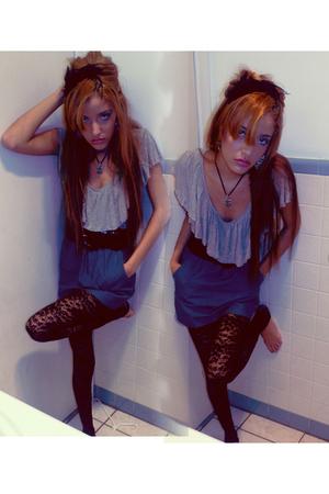 silver Forever 21 shirt - black Wet Seal belt - blue Forever 21 skirt - black Fo