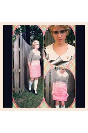 salmon diy skirt - striped Target dress - mint green Forever 21 socks