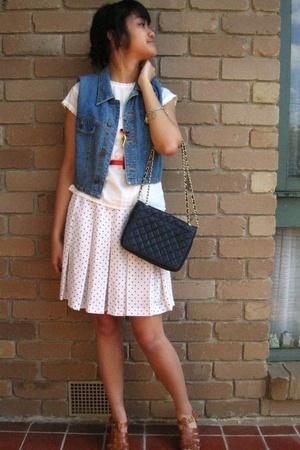 Sportsgirl t-shirt - thrifted vest - handmade belt - vintage skirt - vintage fro